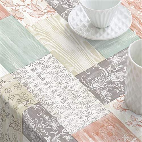 Mantel de Hule PVC Antimanchas. Apariencia Manteleria Tela.Estampado Vintage con diseños de baldosas Surtidas. (140_x_100_cm)