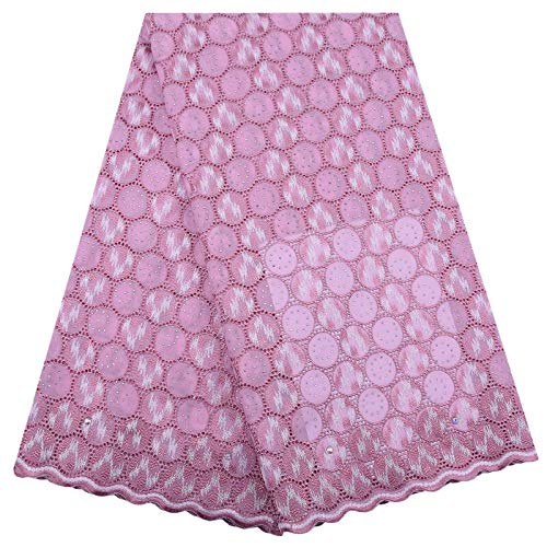 Afrikaanse Lace Borduren Zwitserse Voile Lace Fabric Cotton Lace Stof Franse Kant stof for elke jurk Materiaal (Color : Pink, Size : 5 yards)