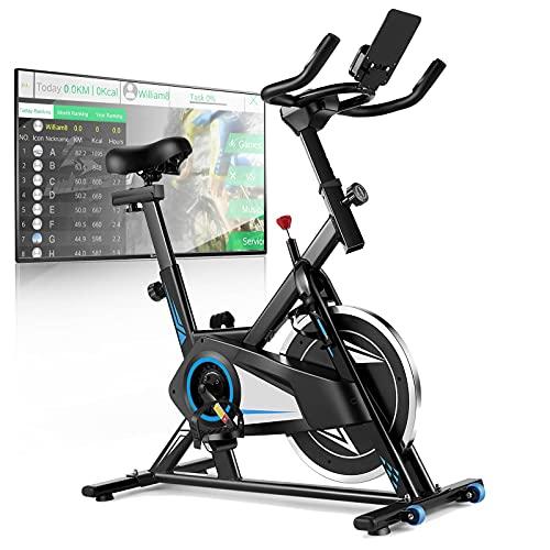 Profun Fahrrad Ergometer Heimtrainer 120 kg mit App-Verbindung, Fitnessfahrrad Fitnessbike mit verstellbarem,Sitz, Herzfrequenzsensoren,Widerstand und Getränkehalter,Verfügbar für die ganze Familie