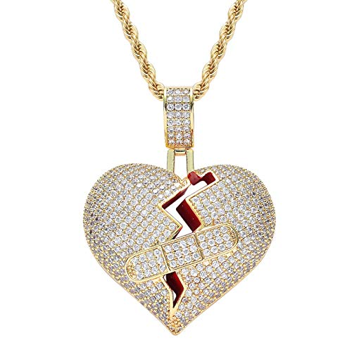 Dxnbp Mens Women 18k Gold Plated Broken Heart Band-aid Pendant Necklace Hip Hop Cz Fully Iced Out Bling Stainless Rope Chain Necklace
