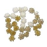 30個リボンBows Flowers DIY手作りの花 カーネーション ははのひ 手芸パーツ クラフト人工オーナメントアップリケ裁縫 (マルチカラー)