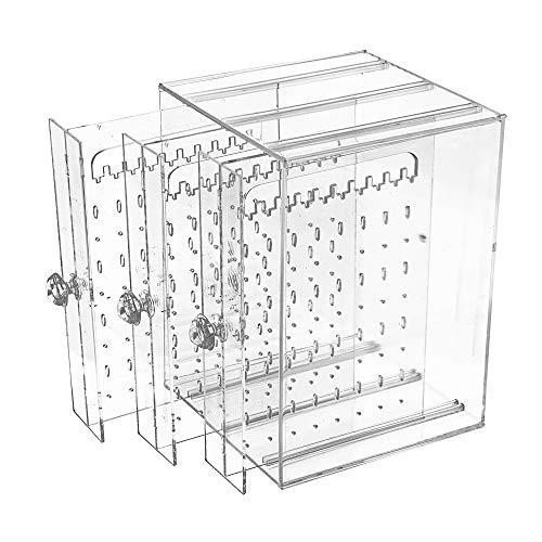 Caja Pendientes Caja Almacenamiento de Joyería de Acrilico Transparente Caja Organizador Joyas Soporte Titular de Joyería Organizador Sostenedor de Pendientes (3 Cajones, Transparente)