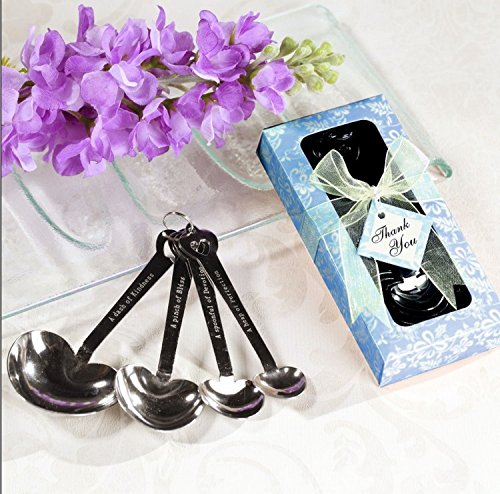 Heart Shaped Measuring Spoons Wedding Favor Blue - One Item