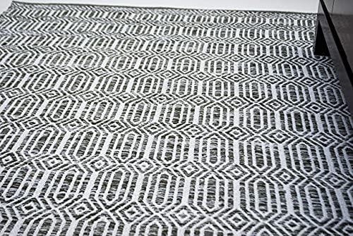 Chardin Home- Cairo: Handgewebter Teppich aus recycelter Baumwolle, grau/elfenbeinfarben, Größe 152 x 203 cm.