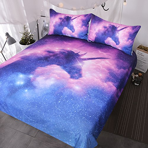 BlessLiving Galaxy Unicorn Bedding Kids Girls Psychedelic Space Duvet Cover 3 Piece Pink Purple Sparkly Unicorn Bedspread(Single)