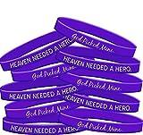 Fight Like a Girl Heaven Needed a Hero God Picked Mine Pancreatic Cancer Alzheimer's Disease Lupus Wristband Bracelet 10-Pack (Purple)