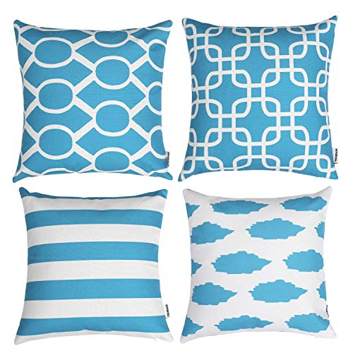 TIDWIACE Teal Cushion Cover Pack of 4, Home Decorative Square Double-sided printing Accent Throw Pillow Covers Set Geometric Cushion Case for Couch, Sofa, Bedroom 45 x 45 cm