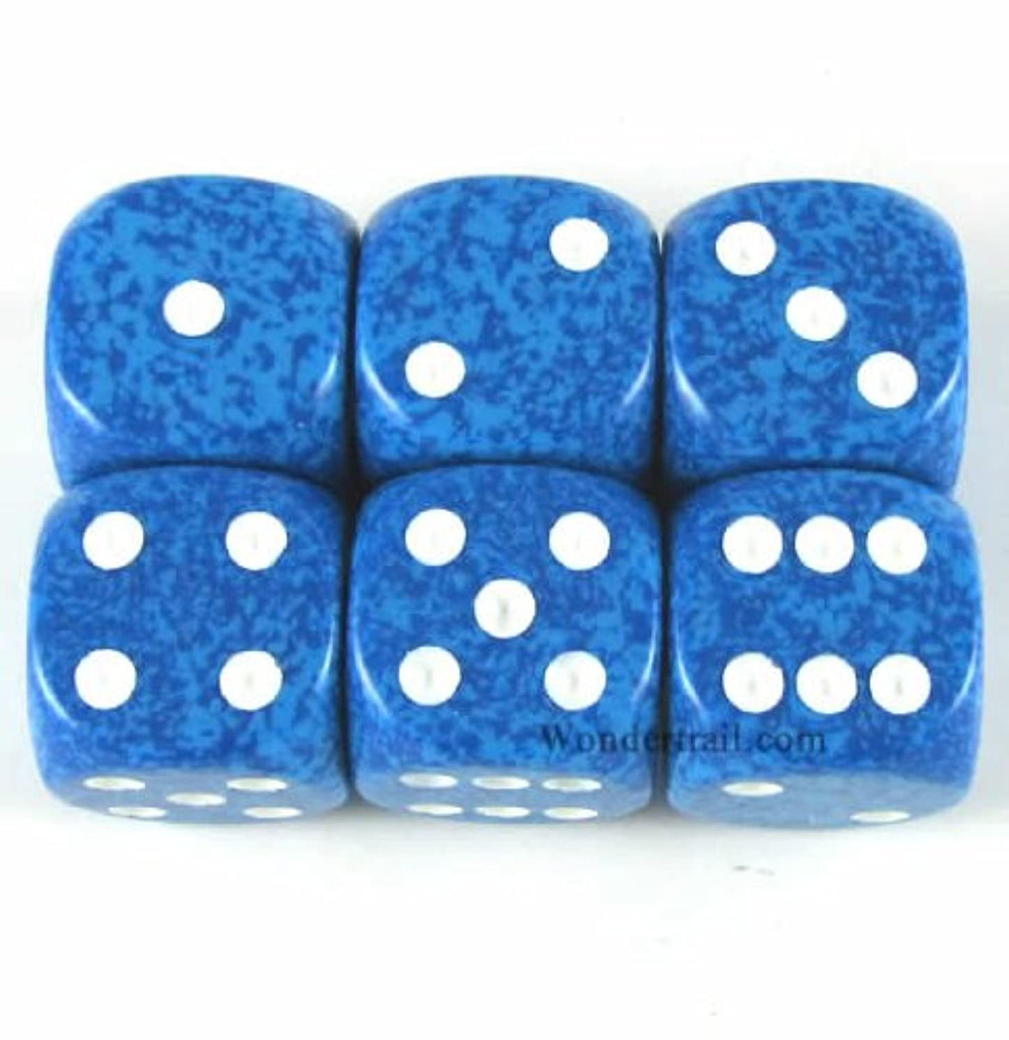 Water Speckled Dice White Pips D6 16mm Pack of 6 Wondertrail WCX25706E6