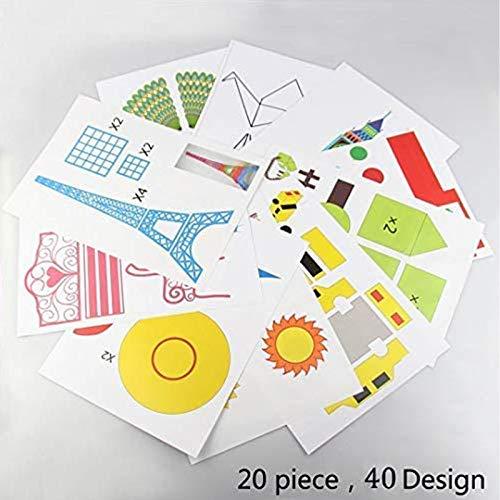 3D Pen Schablonen,3D Pen Stencils 3D Drucker Stift Papier Stencils/ 20 Seiten Verschiedene Papier Patterns/ New Design Papier Formen für 3D Druck Feder,3D-Zeichnungs Feder und 3D Gekritzel Feder/ 3D-Modellbau Arts & Crafts Zeichnung/ Bunte 3D Druckmuster. - 2