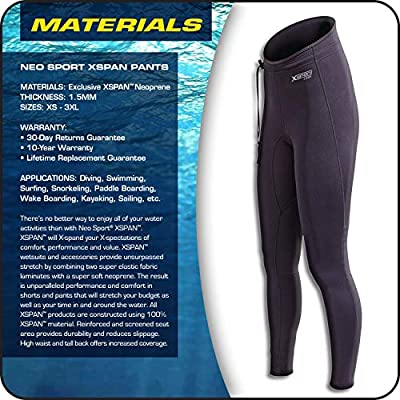 Neo-Sport Wetsuit Pants XSPAN super stretch 1.5mm neoprene. UNISEX design, Watersports, Swimming, Obstacle, Mud Racing, SCUBA, Surf, SUP, Personal Watercraft