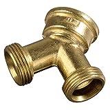 Xavax Raccord Y pour tuyau d' arrivée d'eau (à 2 voies pour tuyaux d'admission, 26,9 mm (3/4 ') en laiton, collecteur en Y) Dorée