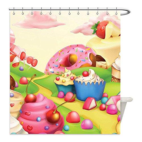 liguo88personalizado impermeable cortina de ducha baño poliéster moderno Yummy Donuts Sweet Land Cupcakes hielo crema algodón Candy nubes diseño infantil multicolor decorativo baño