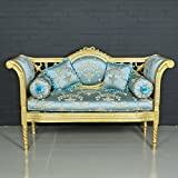 Casa Padrino Baroque Bench Light Turquoise Pattern/Gold - Antique Style Bench