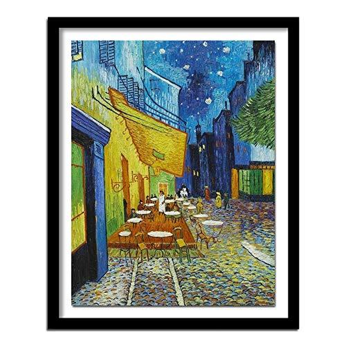 5d Diamant Malerei Voll Platz Diamant Diy Querheftungs Runde Drill Kit Diamant-Stickerei Van Gogh Coffee House Kreuzstich schön (Color : Round Diamond, Size : 65x50cm)