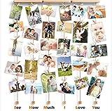 Love-KANKEI SHMILY Cadre Photo Mural avec Corde Porte-Photos avec 30 Petites Pinces Couleur de Bois Naturel Belle Décoration de la Maison Cadeau Mariage et Anniversaire
