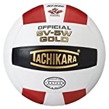 Tachikara SV5W Gold Competition Premium Leather Volleyball (Scarlet/White/Black)