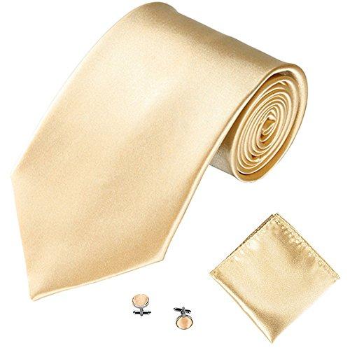 Xmiral Klassische Krawatte Herren Party Einstecktuch Taschentuch Manschettenknopf 3 STÜCKE(W)