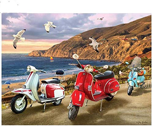Msszsh 5D Diamant Schilderij Kunst Kits Cross Stitch Elektrische Motorfiets, Seagull Volledige Borduurwerk Strass Seaside Scenery Mozaïek Kunst 40X50Cm (15.5X19.5Inch)