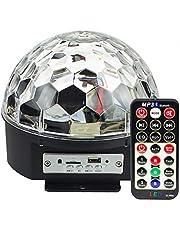 lumière de scène Lumières de scène MP3 Bluetooth stroboscopiques rotatives, musique disco LED RGB Crystal Magic Ball avec et fonctionnalités sans fil (KTV,fêtes de Noël, bars,discothèque,DJ)