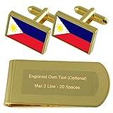 Filipinas Bandera de tono Oro gemelos Money Clip grabado Set de regalo