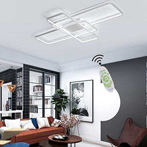 Wohnzimmerlampe Deckenleuchte Modern LED Dimmbare Schlafzimmer Deko Lampe Acryl-Schirm Eckig Designer mit Fernbedienung Decke Pendelleuchte Esstisch Flur Küche Bad wohnungs Landhaus Deckenlampe Weiß