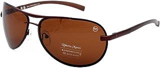 Roberto Marco - Gafas de sol polarizadas para hombre y mujer, lentes marrones claros, diseño de lágrima, sin deslumbramiento