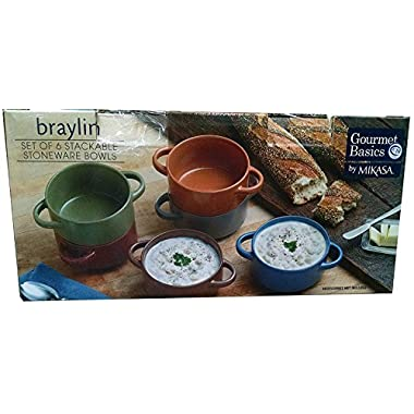 Stackable Stoneware Bowls Gourmet Basics by Mikasa, Set of 6