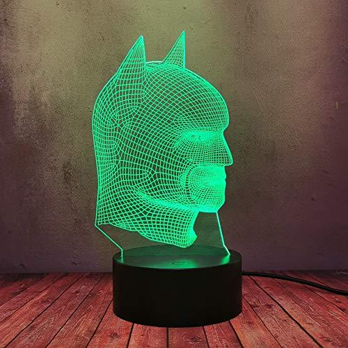 Cartoon DC Comic Siperman Figure Night Light Batman Head Mask 3D LED Lava Optical Table Desk Lamp Creative Flash 16 Color Shine Home Bedroom Atmosphere Decor Bulbs Boy Fans Party Gift Supply