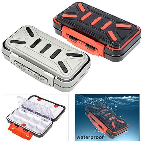 OriGlam Caja de almacenamiento para aparejos de pesca, doble cara, impermeable, 16 compartimentos, caja organizadora de aparejos, caja de almacenamiento para señuelos de pesca (gris)