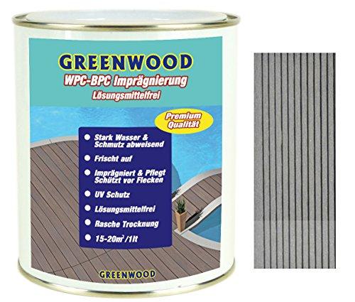 Greenwood WPC & BPC Imprägnierung Hell-Grau - Imprägniermittel mit Farbe - Terrassen Pflegemittel mit UV-Schutz - ECO Lösungsmittelfrei - 750 ml