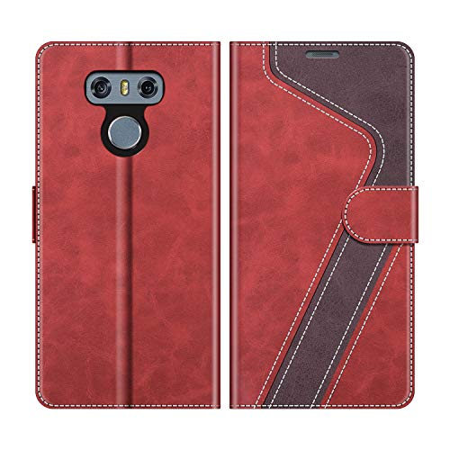 MOBESV Handyhülle für LG G6 Hülle Leder, LG G6 Klapphülle Handytasche Case für LG G6 Handy Hüllen, Modisch Rot