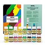 Pintura Acuarela en Bote Nazca Colors – Set 16 Colores x 30ml – Pasta de Acuarela de Gran Pigmentación, Fácil de Diluir y Gran Poder de Coloración ideal para Principiantes, Estudiantes y Aficionados