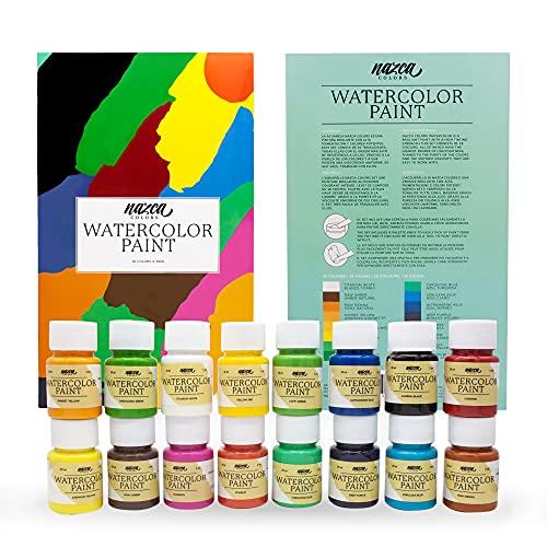 Nazca Colors - Set di 16 colori per acquerello da 30 ml, pasta per acquerello ad alta pigmentazione, facile da diluire e grande potere di colorazione ideale per principianti, studenti e hobby