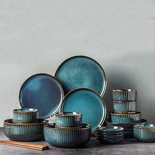 ZLDGYG Juego de vajillas Azules nórdicas de Horno Ensalada de cerámica acristalada Ensalada de Plato Redondo Plato de Cena (Color : 20-Piece Set)