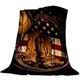 Flannel Fleece Throw Blanket for Couch- 39' x 49', Rustic American Flag West Cowboy Boots Equipment Blanket Super Soft Cozy Plush Microfiber Fluffy Blanket Lightweight Warm Bed Blanket