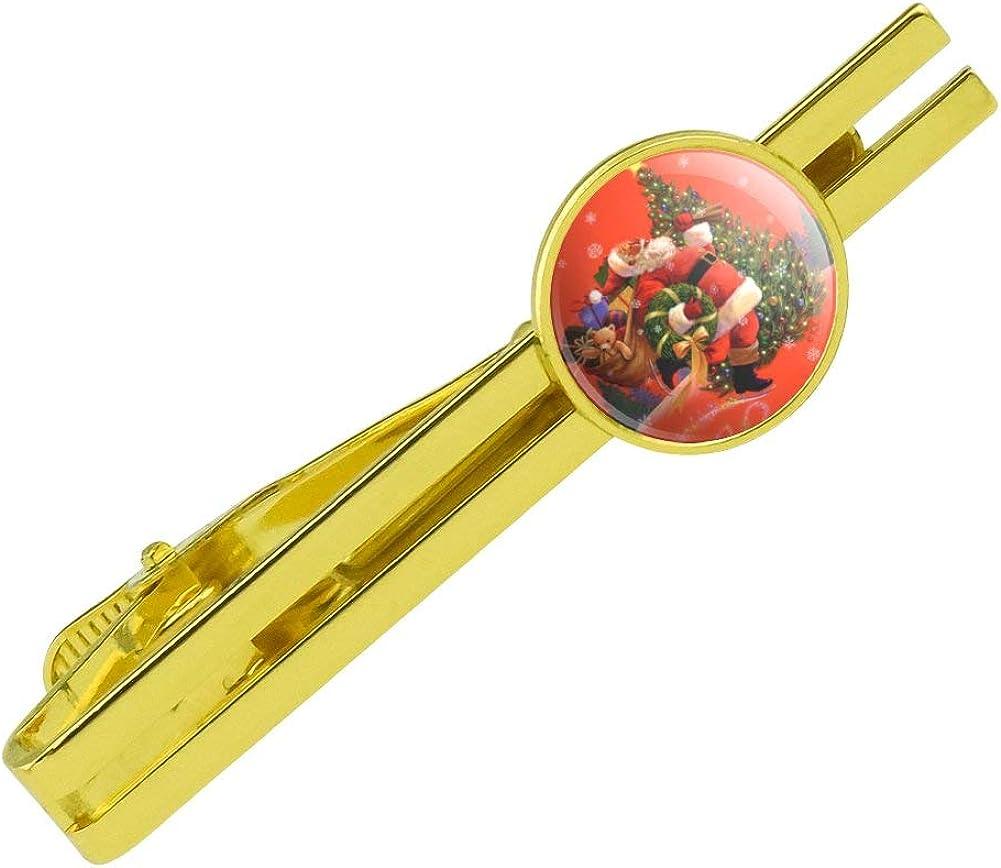 GRAPHICS & MORE Christmas Holiday Santa Skating Toys Tree Round Tie Bar Clip Clasp Tack Gold Color Plated