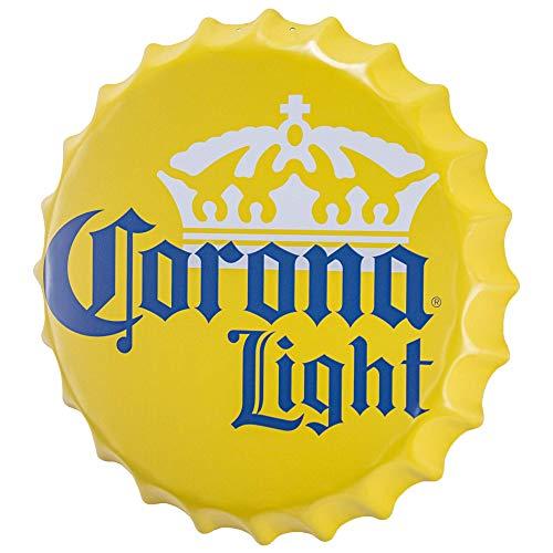 qiweidsdef Decoración de Pared de Cerveza de Metal con Forma de Tapa de Botella Corona Light con Licencia Oficial para Bar, Garaje o Cueva de Hombre (16 ')