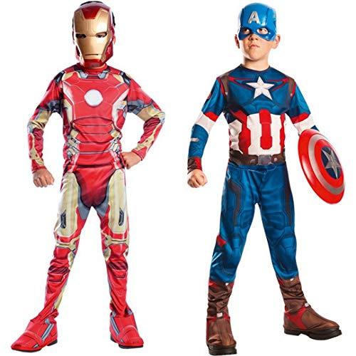 Marvel 155014m - Costumi per bambini, Set da 2 pezzi, Capitan America + Iron Man 2, M, 105-116 cm