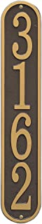 """Whitehall Personalized Cast Metal Address Plaque - Custom House Number Sign - Vertical Oval (3.5"""" x 19"""") - Bronze with Gold Numbers"""