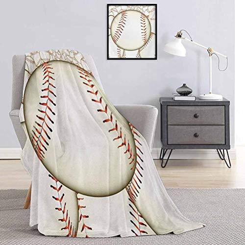 Toopeek - Manta de béisbol para niños, diseño de bolas de béisbol, fondo para casa, reglas del juego, impresión de éxito, ligera, suave, cálida y cómoda, W54 x L72 pulgadas, color crema rojo