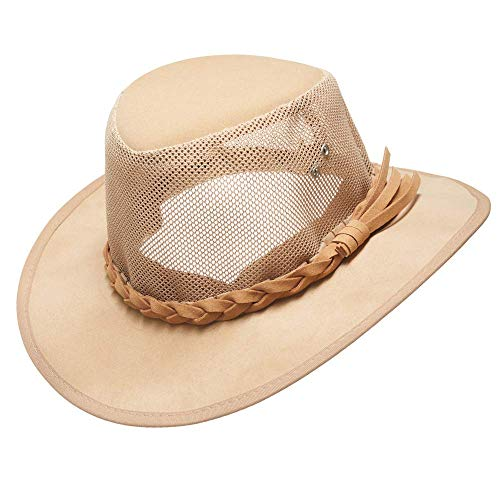 Mesh Sun Hat for Men Golf Soaker Hats Summer Beach Safari Wide Brim Fishing Cap Outdoor(Natural,Large)