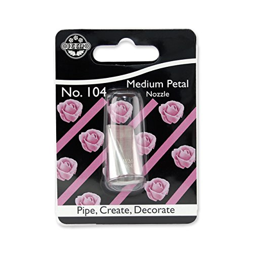 JEM Mittelgroße Spritztülle Nummer 104 für Blüten/Rüschen, Edelstahl, Silber, 2 x 2 x 3.5 cm