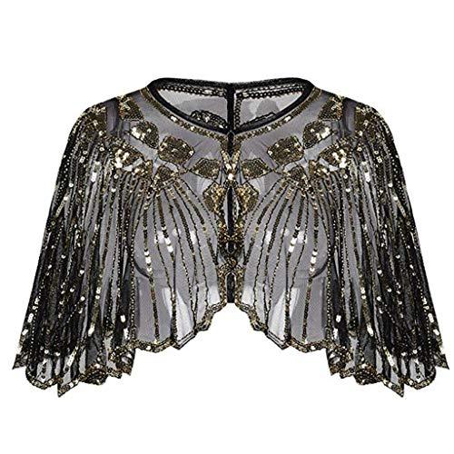 Damen Stola Abendkleid Perlen Pailletten Deco - 20er Jahre Retro Schal Umschlagtücher für Abendkleider Stola für Hochzeit Mode Party Gatsby Kostüm Accessoires
