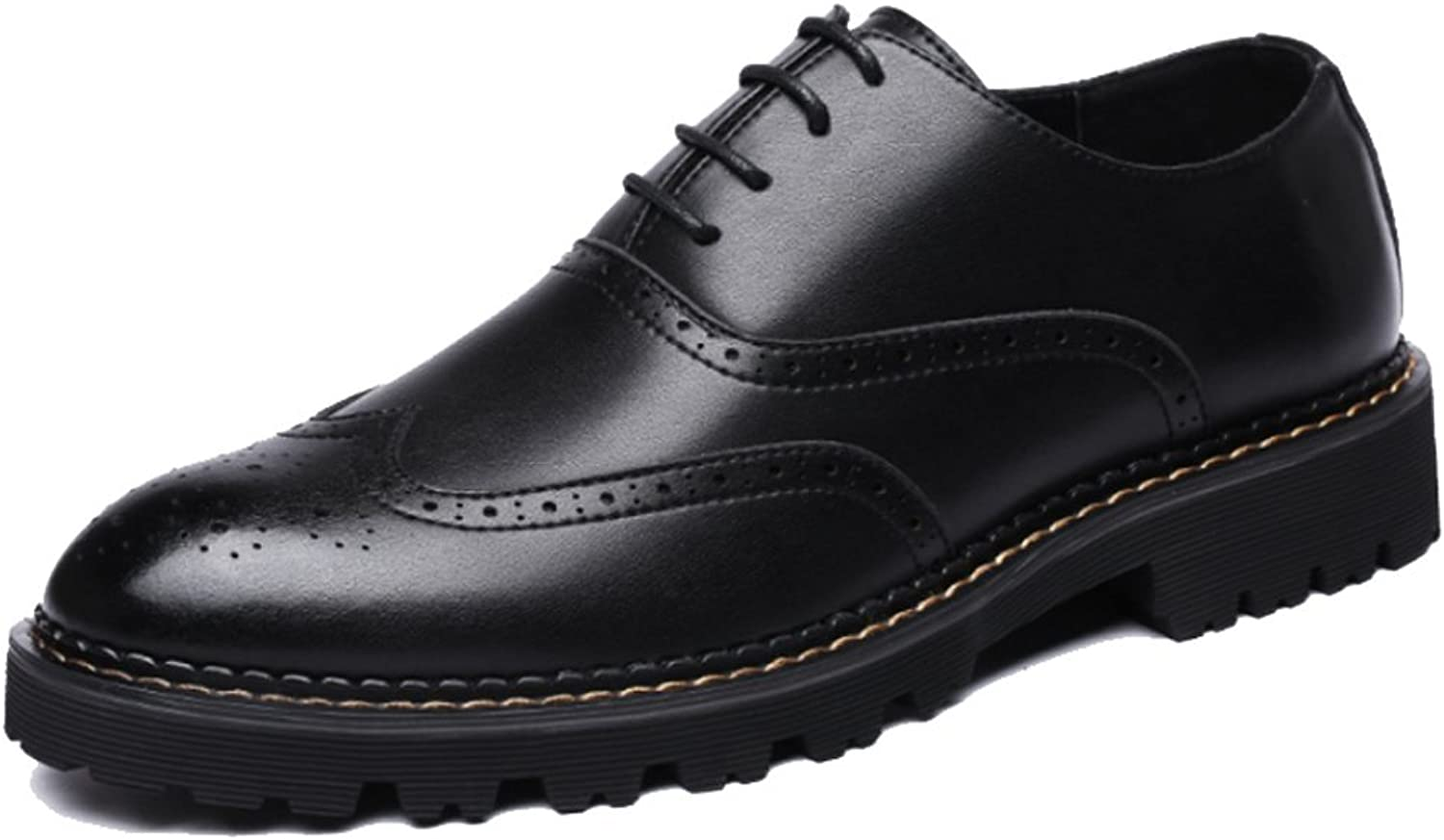 DHFUD Men Business Casual Married Outdoor Brock Leather shoes