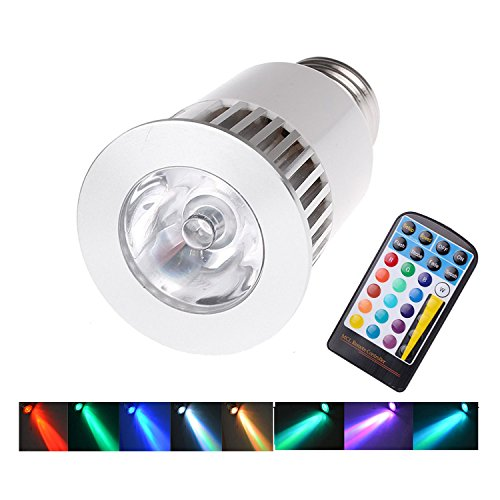 Lemonbest 5 Watt E27 RGB 16 Color Options and Memory Feature LED Magic Spotlight Bulb with 28 Key IR Remote Control, 4 Mode Flashlight Lamp (1pc)