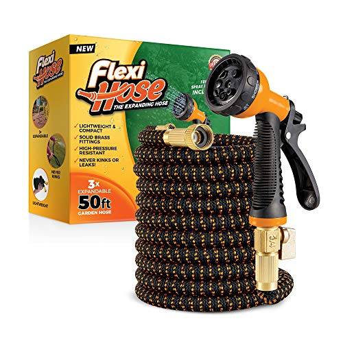 Flexi Hose Upgraded Expandable Garden Hose, Extra Strength, 3/4' Solid Brass Fittings - The Ultimate No-Kink Flexible Water Hose, 8 Function Spray Included (50 FT, Orange/Black)