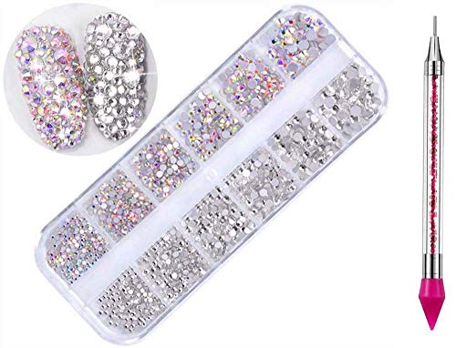 crystal rhinestone for nails 1440 Pcs Crystal Rhinestones Nail Art Gems and Rhinestones + 1 Pcs Rhinestone Picker Dotting Pen,for Nails/Clothes/Face/Craft (1440pcs/2color)