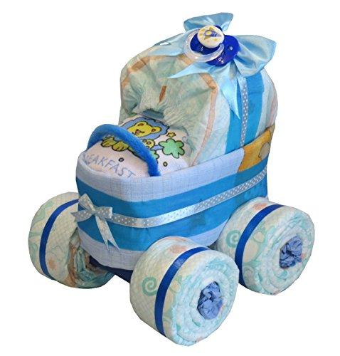 Luiertaart - kinderwagen met XL-banden blauw