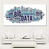 BailongXiao Cuadro En Lienzo Decoración del hogar de la Pared del Alfabeto de Big Data para póster de la Sala de estar60x120cmPintura sin Marco