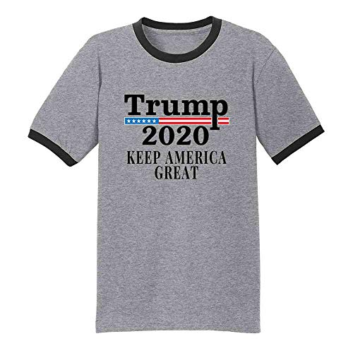 Donald Trump Keep America Great 2020 Campaign Grey/Black 3XL Graphic Tee Ringer T-Shirt